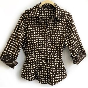 Tops - Brown & White Printed Top - Size 14
